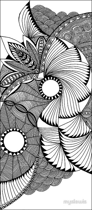 Line Drawing Zentangle : Flying fans black and white zentangle by myslewis
