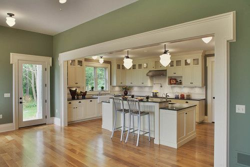 Says the architect:  The paint is Benjamin Moore Graham Ceramic paint.     The finish is matte.     The color is Historic Colors of America, 81 Wainscot Green.     I like the color too - not too vivid; not too dull but enough body to offer a nice contrast to the cream white trim.