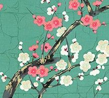 Golden Garden Teal Oriental Cotton Fabric by Alexander Henry