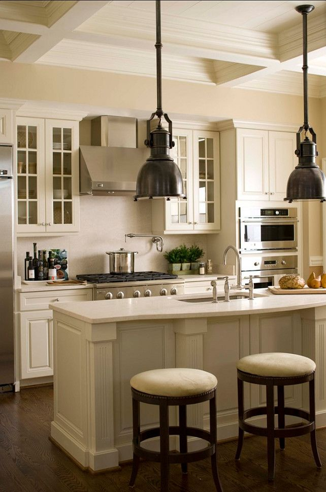 "White Kitchen Cabinet Paint Color:"" Linen white 912 Benjamin Moore"" #PaintColor #Kitchen #Cabinet Paint Color"