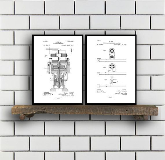 Tesla Patent Set of TWO, Tesla Electrical Transmitter Patent, Tesla Poster, Tesla Transmitter Print, Tesla Patent, Tesla Inventions, SP119 by STANLEYprintHOUSE  6.00 USD  These posters are printed using high quality archival inks, and will be of museum quality. Any of these posters will make a great affordable gift, or tie any room together.  Please choose between different sizes and colors.  These posters are shipped in mailing tubes via USPS First C ..  https://www.etsy.com/ca/li..
