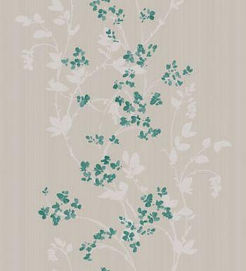 Papel pintado enredadera flores pequeñas turquesa acuarela - 2019628