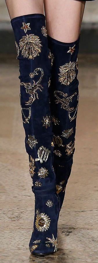 Emilio Pucci ~ Fall Navy Suede Tall Boots w Gold Embellishments 2015