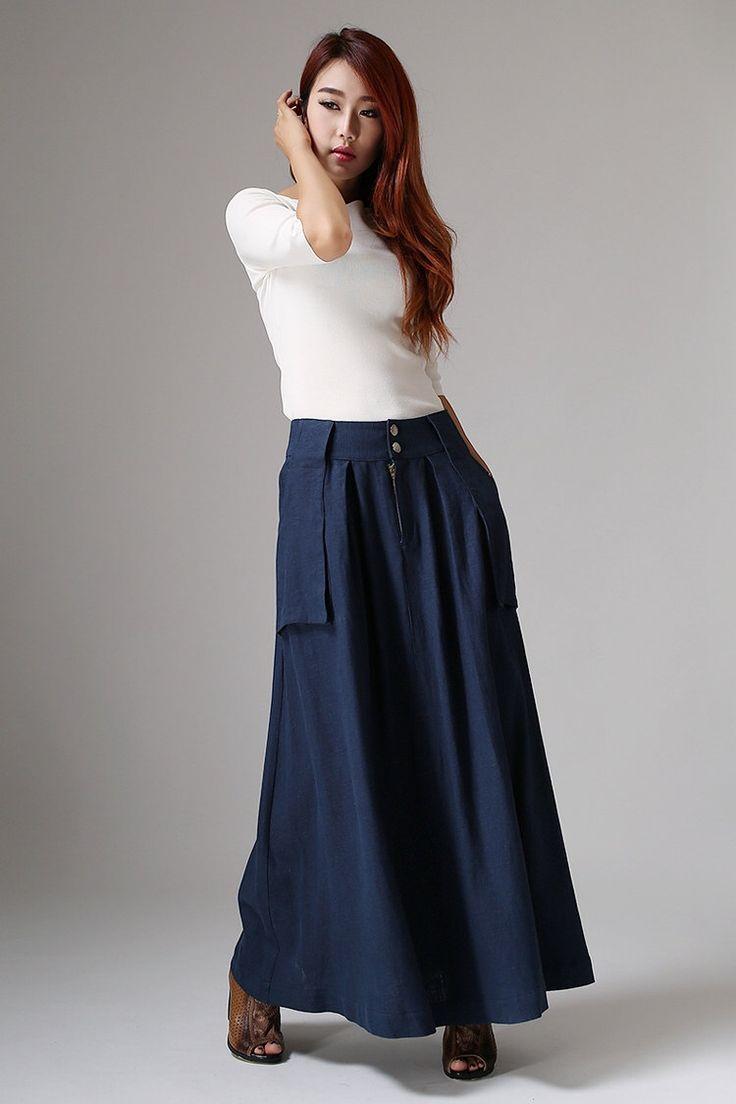 navy blue linen - modern contemporary trendy skirt - long linen skirt - maxi skirt with large pockets - Custom made & Plus size  (1036) de xiaolizi en Etsy https://www.etsy.com/es/listing/195896244/navy-blue-linen-modern-contemporary