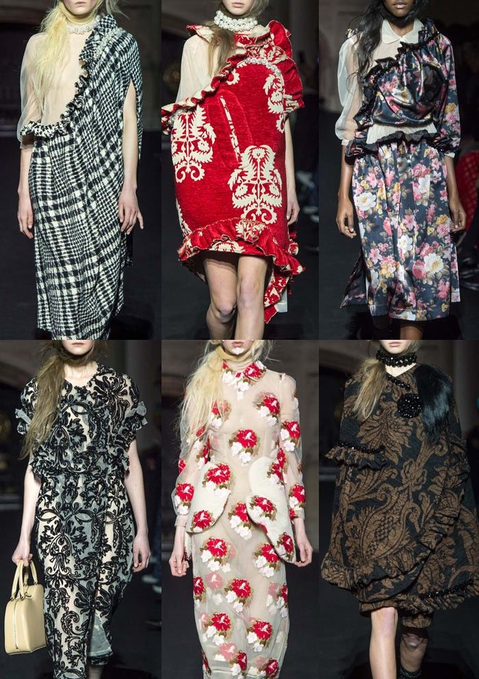 Simone Rocha AW15\16 | Tapestry florals – William Morris References – Petal Usage – Over Scaled Pattern – Rich Decoration – Linear Damask Patterns – Checks