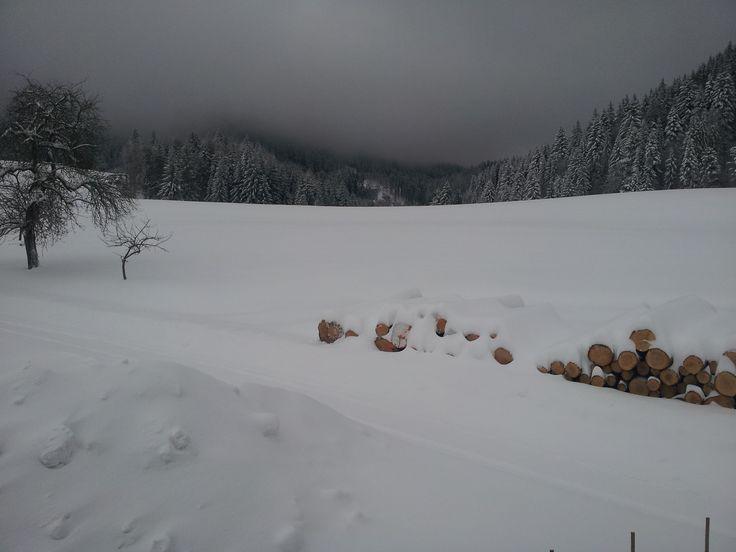 Early, winter, evening in the mountains of Faistenau, Austria