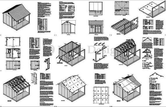 12' x 12' Backyard Storage Shed with Porch Plans