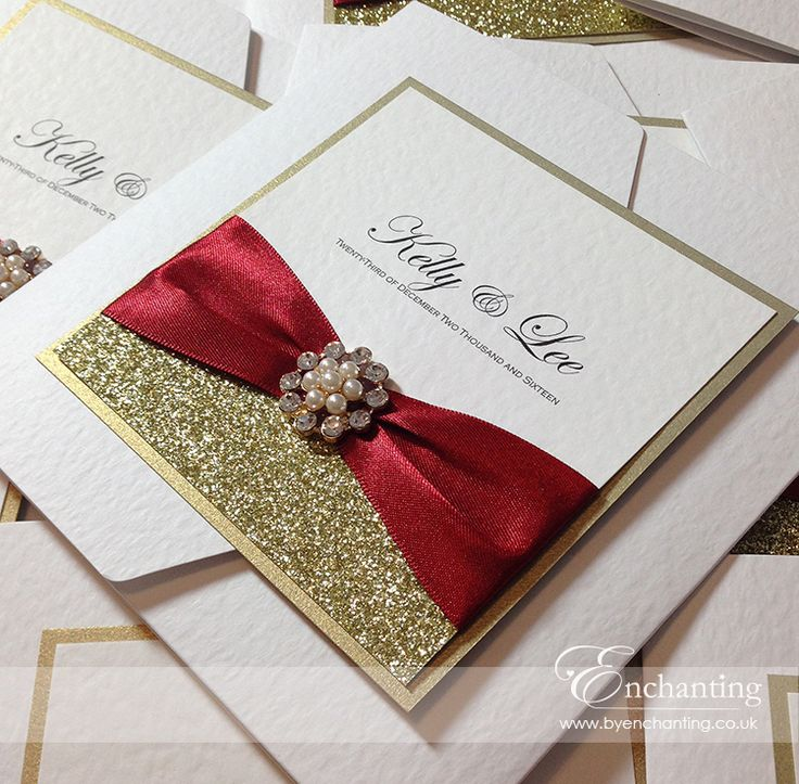 "The Cinderella Collection - Pocketfold Invitation | Featuring ""Scarlett Berry"" red ribbon, gold glitter paper and ""Gold Isabella"" pearl and crystal embellishment 