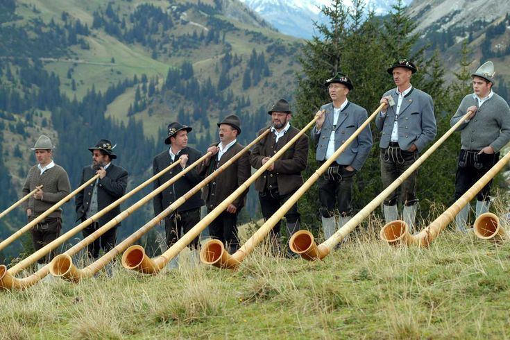 ...  in the early days the alphorn was straight, later on the instruments were made from a tree bent and shaped roughly like the alphorn we know today. Description from picture-newsletter.com. I searched for this on bing.com/images