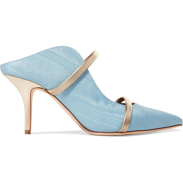 Malone Souliers Maureen metallic leather-trimmed moire mules ($630) ❤ liked on Polyvore featuring shoes, blue slip on shoes, slip-on shoes, high-heel mules, high heel shoes and high heel stilettos