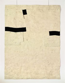 Eduardo Chillida - Untitled, ink and hand-made paper collage with string  63 x 47¼in. (160 x 120cm.)  Executed in 1989 Untitled