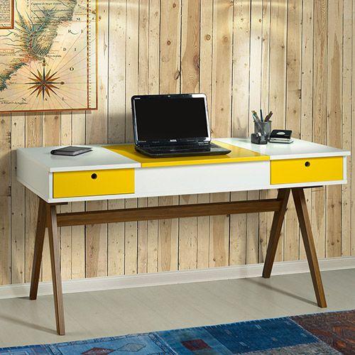 Mesa para Computador / Penteadeira Delacroix 2 Gavetas Nogal Branco/Amarelo - Máxima