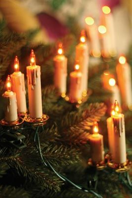 """Old World Candle Garland. Romanticized """"dripping"""" candles emit a warm, amber glow without the threat of flame. Clustered sets of 3 candles. 3½"""", 15 lights."""