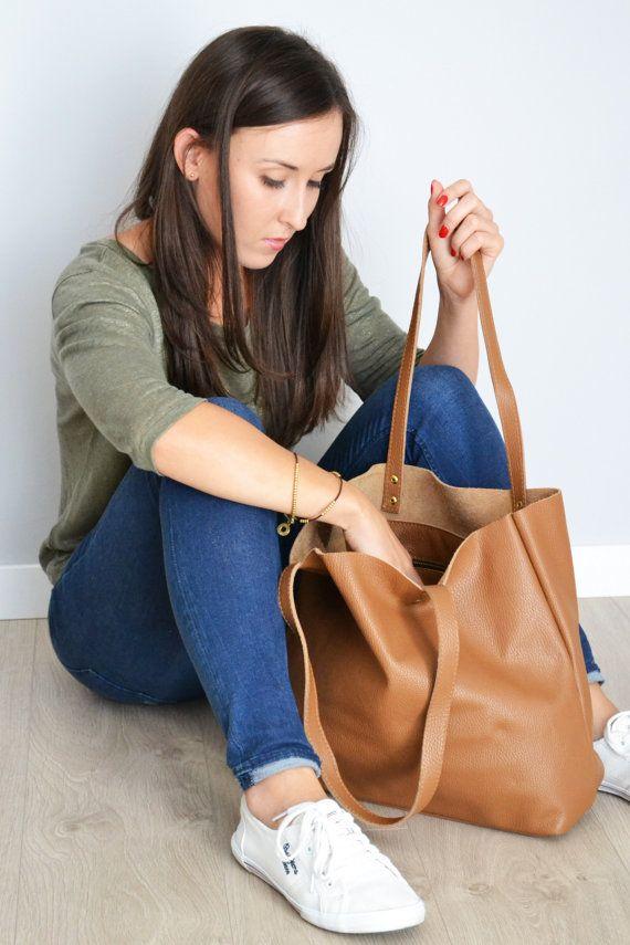 BROWN LEATHER Tote Bag Large Tote Bag Italian Pebbled by KadoBag