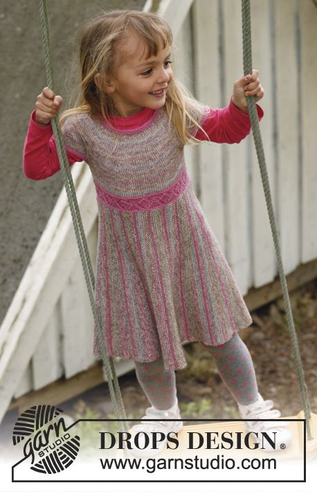"""Knitted DROPS dress with skirt worked in garter st from side to side with short rows, and knitted top in stocking st with round yoke in """"Fabel"""". Size 3 to 12 years. ~ DROPS Design"""