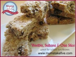 Weetbix, Chia and Sultana Slice. Easy to slice and freeze into portions - from the wonderful Bel at Mums Take Five!! https://www.facebook.com/MumsTakeFive