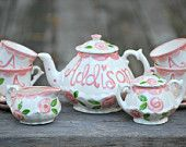 Tea set Personalized for Little girls //  child's sized Tea Set, Handpainted, Custom, Personalized