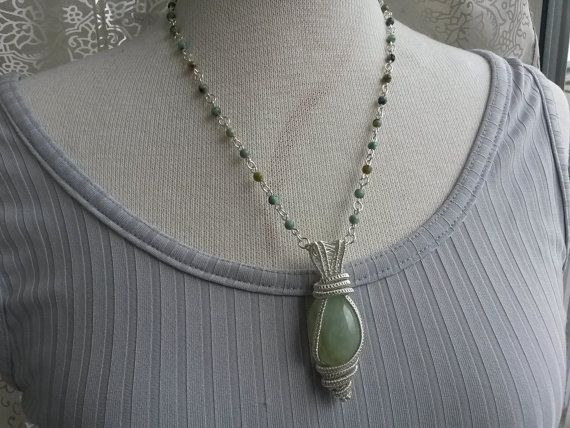 Quartz wire wrapped necklace  Aventurine wire wrapped by IMKdesign