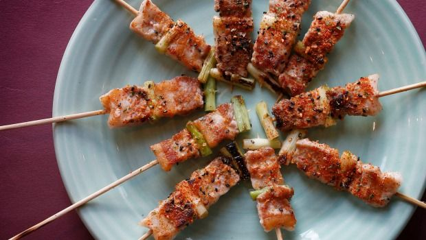 Skewered pork belly yakitori.