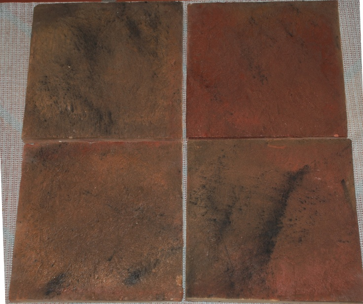 varying levels of the antique finish and added texture applied to an authentic mexican saltillo tile