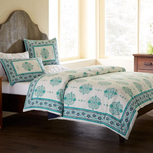 Paisley Block Print Duvet Cover & Shams Bedding Set | VivaTerra