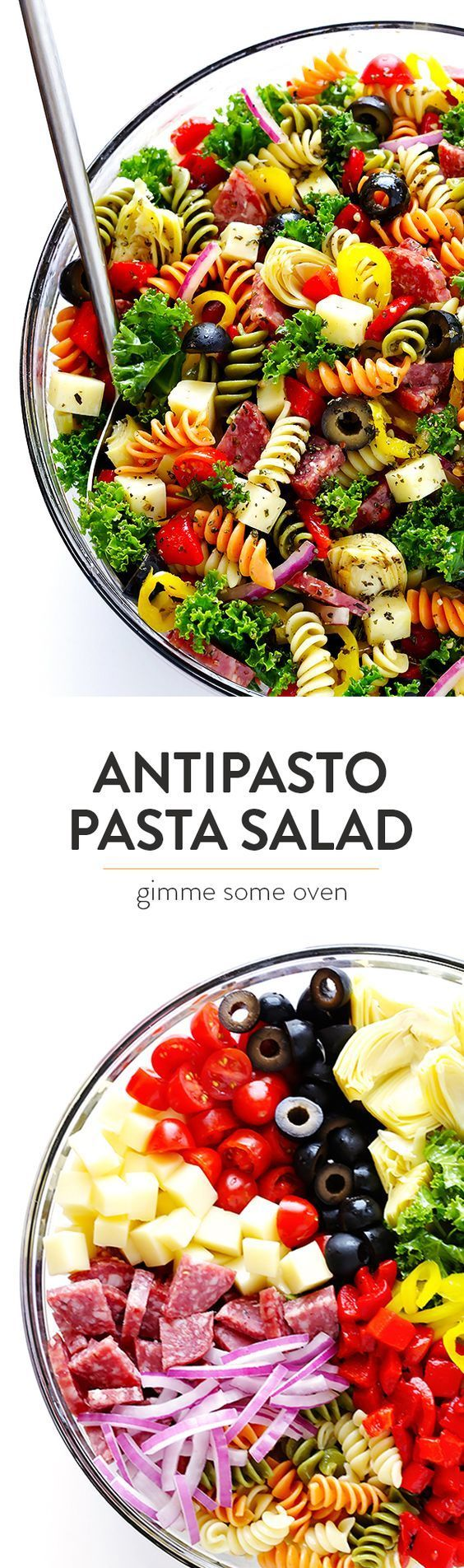 This Rainbow Antipasto Pasta Salad is the perfect way to use up leftover antipasto ingredients! Plus, it's easy to make, tossed with a zesty Italian herb vinaigrette, and absolutely delicious! | http://gimmesomeoven.com