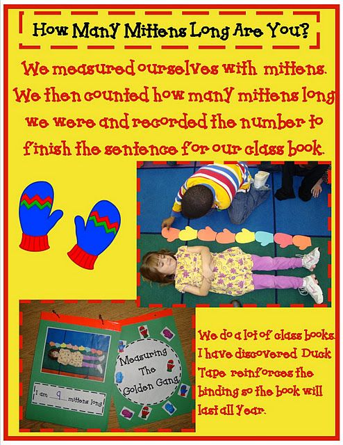 mitten measuring -clothing study....then measure with shoes, hats, boots, socks!  Go for it!