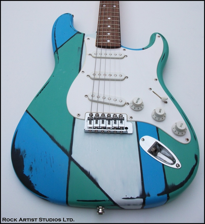 Handpainted Fender Squire Guitar by Rock Artist Studios Ltd.