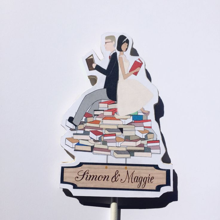 The Book Lover's Wedding Cake Topper Wooden Cake Topper The Royal Tenenbaums Wes Anderson Wedding Vintage Wedding Retro Wedding