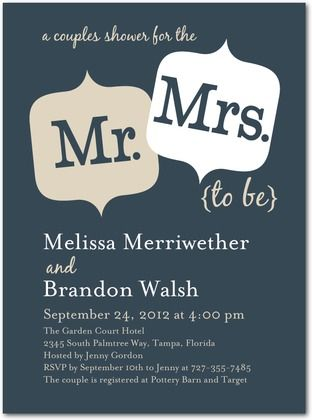 sample in the mail - Signature White Bridal Shower Invitations Couple Cuteness - Front : Slate