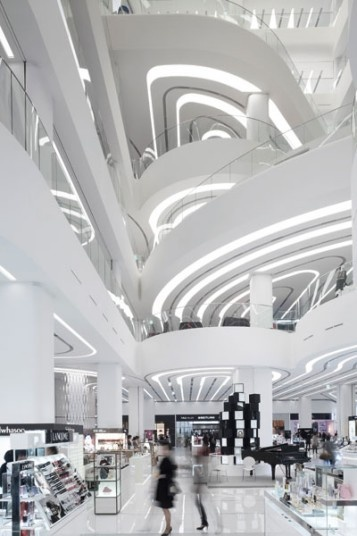 Designed by Amsterdam-based firm UNStudio, Galleria Centercity in Cheonan, South Korea, is a shopping centre with a flowing interior that is meant to replicate the fluid movements of an unfolding ribbon.