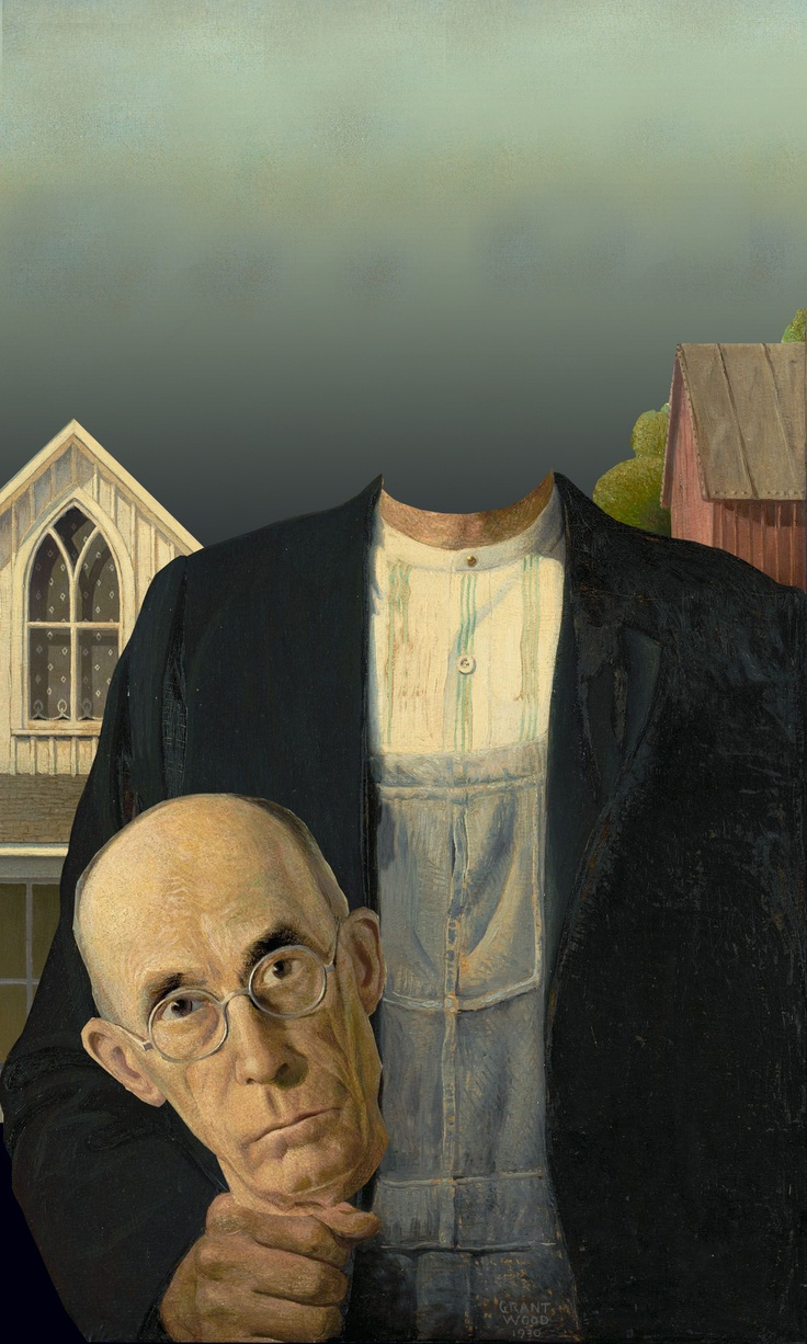 """american gothic grant wood Had grant wood not made the painting """"american gothic"""" (1930), there would  not be a grant wood retrospective now at the whitney museum."""