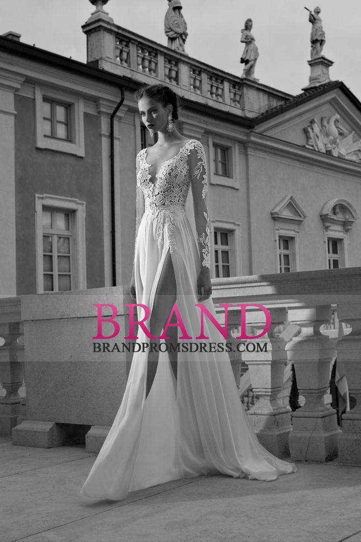 2015 V-Neck Long Sleeves Wedding Dresses A Line With Applique