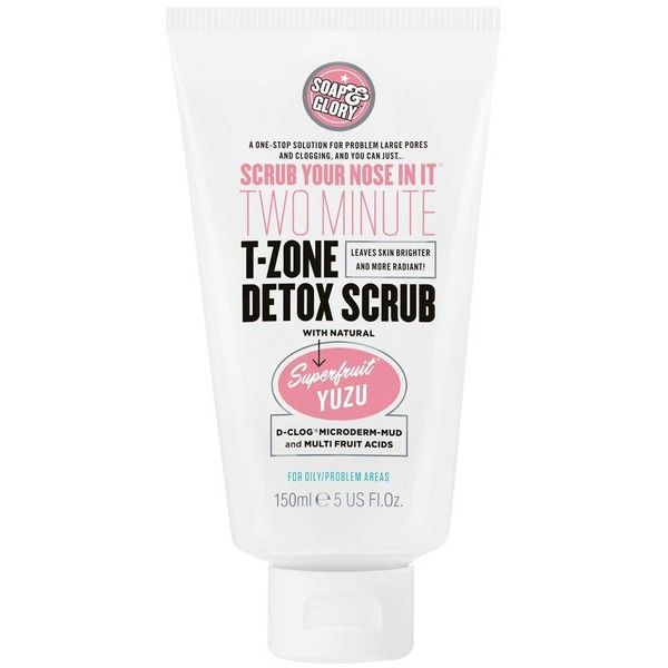 Soap & Glory Scrub Your Nose In It Two-Minute T-Zone Detox Scrub (550 PHP) ❤ liked on Polyvore featuring beauty products, exfoliating face wash and exfoliating facial cleanser