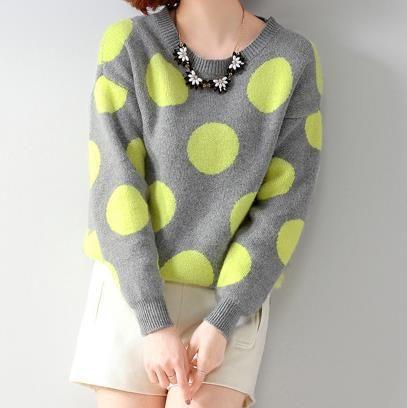 Свитер для девочка узор в горошек поступления девочки свитер подросток большой дети длинный рукав тёплый зима купить на AliExpress