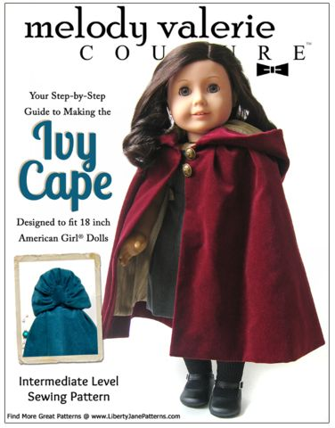 Ivy Cape 18 inch Doll Clothes Pattern PDF Download | Pixie Faire