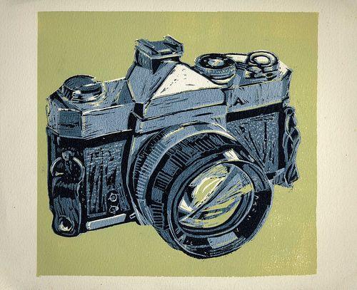 Camera Reduction Linoleum Print
