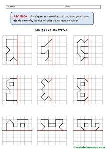 Simetría para niños de primaria Actividades de geometría Ejercicios de simetría y Ejercicios