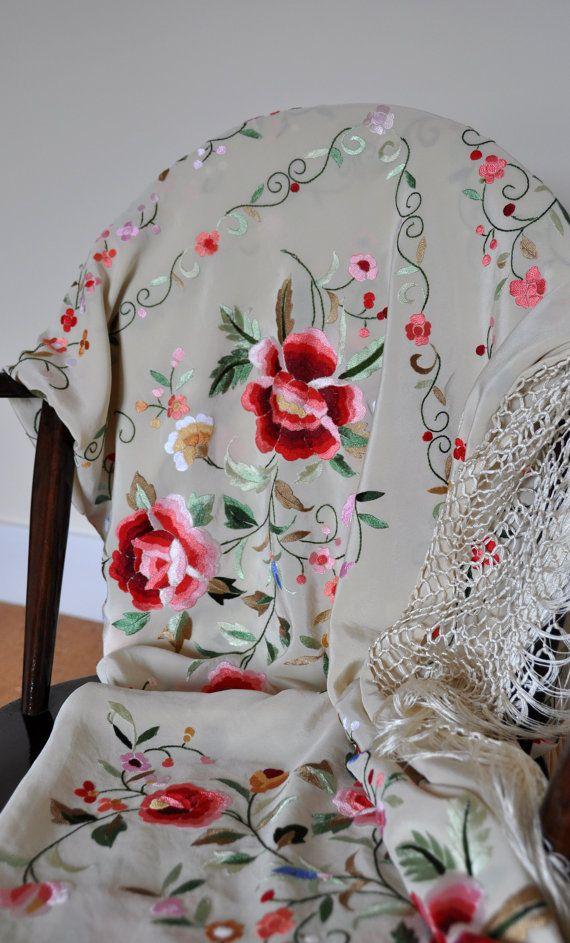 Hand embroidered spanish silk flamenco piano shawl, mantones