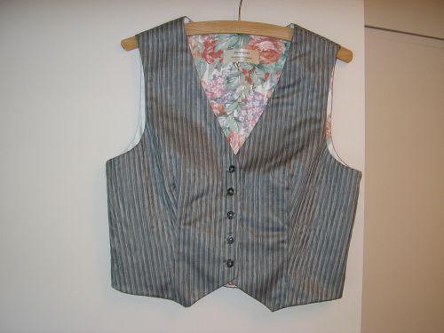 Ladies Grey Jacquard Stripe Waistcoat 10-12