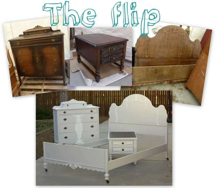 I had an old, victorian bed, a tall dresser and a carved nightstand, purchased at from 3 different places at 3 different times.  Now, there were obviously elements in these pieces that made me think they would work well together as a set.  I chose to paint a pale, barely there dove gray and highlighted the details with a pure white.  The result is a gorgeous, one-of-a-kind bedroom set that looks like the pieces were made for each other