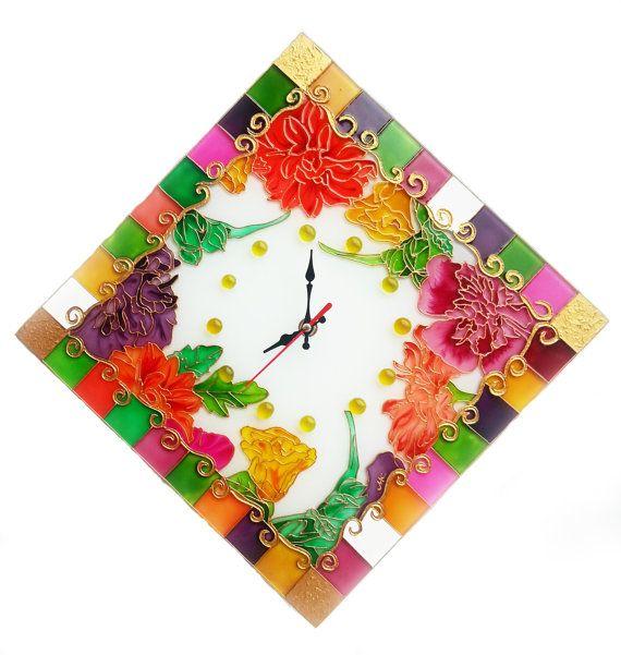 Géométrique fleurs verre horloge, verre, peinture, art du verre, floral peinture, mur, vitrage, vitrail, décoration murale, horloge, fleurs peintes, cadeau