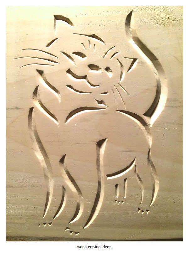 wood carving pattern for beginner ideas cat