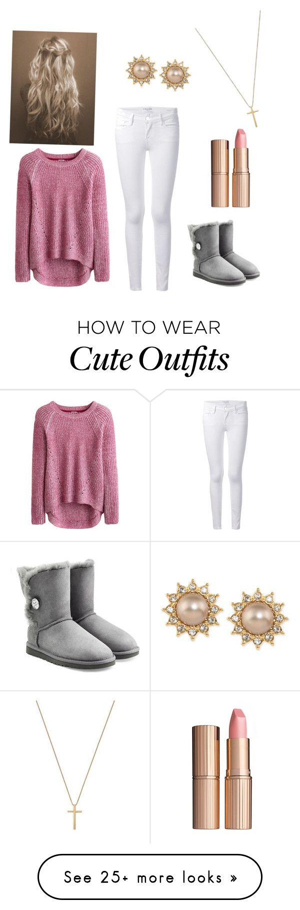 """Cute school outfit"" by seheitzman on Polyvore featuring Frame Denim, Gucci, Charlotte Tilbury, Carolee and UGG Australia"
