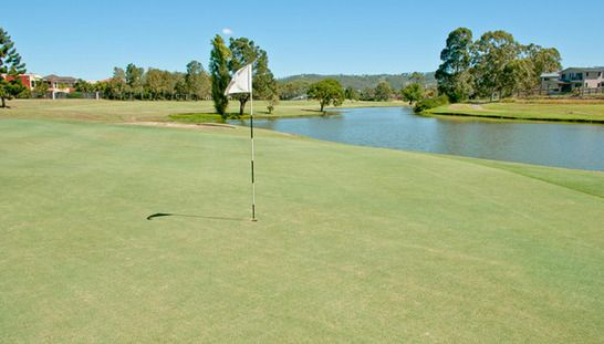 Enjoy 18 Holes for 2 at the beautiful Windaroo Lakes Golf Course! This offer includes a shared motorised cart and a refreshing beer or soft drink after your rounds. Normally $125, today just $69! #golf #golfqld