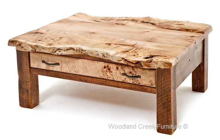 Barn Wood Cocktail Table with Live Edge Burl Slab Top by Woodland Creek in Custom Sizes.