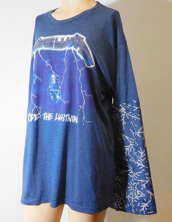 Bell Angel Sleeves Upcycled Tshirt Metallica Concert Rock n