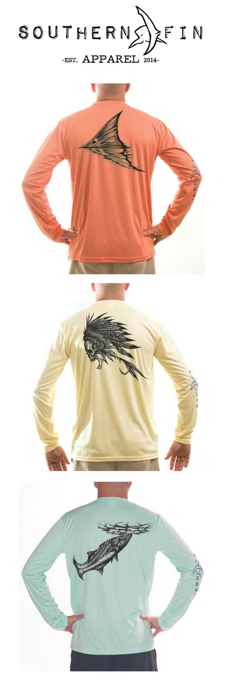 100% Microfiber Performance Long Sleeve Fishing Shirts. UPF 50+ and Moisture Control Technology.