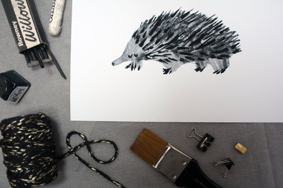 A3 Echidna Illustration Giclee PRINT - by AnniesPrintings
