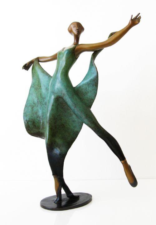 Bronze Human Figurative #sculpture by #sculptor Esther Wertheimer titled: 'Dance with Shawl' #art